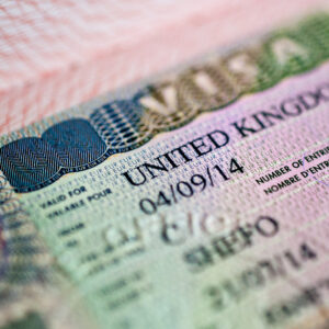 Close up UK visa in passport